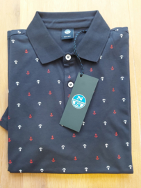 North Sails - POLO S/S W/ALLOVER PRINT - Navy Blue - SS21