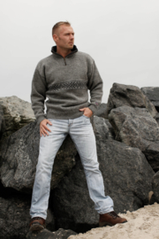 Windstopper Sweater of 100% pure new wool - light grey