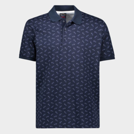 Paul & Shark Organic cotton based Jacquard Polo with Shark pattern print