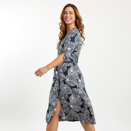 Weird Fish Milli Printed Midi Dress Dark Navy (W)