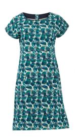 Weird Fish - Organic Printed Jersey Dress- Tallahassee - Bottle Green - SS21