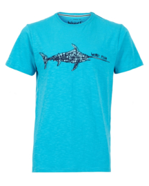 Weird Fish Embroidered Tee - Swordfish - Turquoise  - SS21