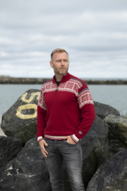 Norwool Noorse Sweater - 100% merino wol - arctic circle - deep red