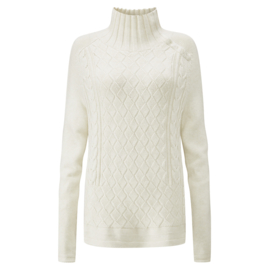 Henri Lloyd Cable Pattern Button Knit White SRF