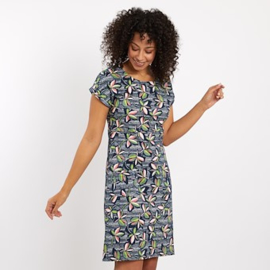 Weird Fish Tallahassee Patterned Dress flowers Navy (W)