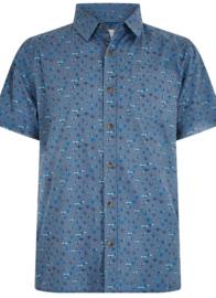 Weird Fish Elm SS Fabric Interest Shirt - Denim