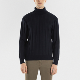 Paul & Shark Wool Ribbed Bretagne Turtle-neck Sweater - Navy