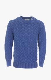 Piece Of Blue Heavy Knitted Round-neck Pullover - Dark Indigo Blue