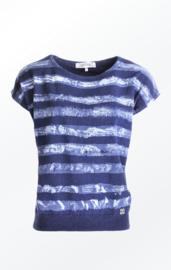 Piece of Blue Striped Cap Sleeve Sweater - Striped Indigo Blue (w)