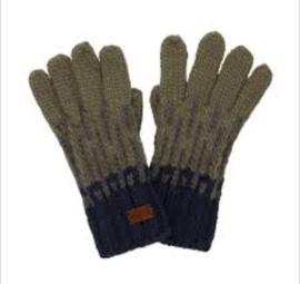 Weird Fish Kingston Fair Isle Knit Gloves - Khaki Grey