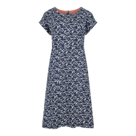 Weird Fish Tallahassee Patterned Dress Birds Dark Navy (W)