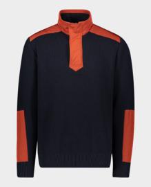 Paul & Shark  Zipped Pullover Knit - Navy/Rust S21/22