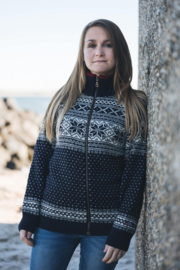 Norwegian full zip Cardigan of 100% pure new wool - Dark Blue (womens-fit)