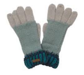 Weird Fish Marta Striped Knit Gloves - Navy