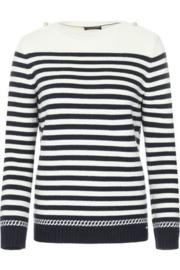 Saint James Sweater Round Neck Annecy R Wool Ecru - Navy(W)