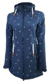Dry Fashion Softshell Kampen - Navy melange - Removable hood