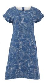 Weird Fish - Organic Printed Jersey Dress- Tallahassee - Ensign Blue - SS21
