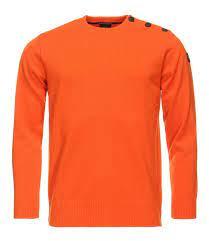 Paul & Shark - Bretagne Button Shoulder Merinowool R-neck - Orange