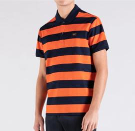 Paul & Shark striped organic piqué cotton polo shirt