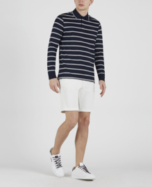 Paul & Shark Cotton Polo Long Sleeve Navy Blue Breton Stripes