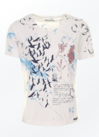 Piece of Blue T-shirt Abtracte Print - wit
