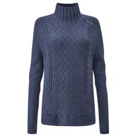 Henri Lloyd Cable Pattern Button Knit Marine Blue