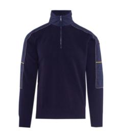 Paul & Shark Pullover with 1/4 zip in virgin wool - navy