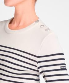 St James Sweater Round Neck Maree II R Wool Ecru-Navy