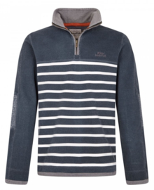 Weird Fish PEMBERTON 1/4 Zip Striped Pique Sweatshirt - Navy