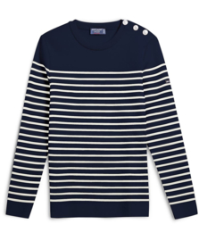 Saint James Sweater Round Neck Maree II R Wool Navy-ecru (W)