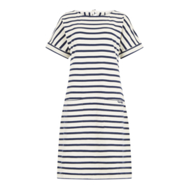 Weird Fish Etta Stripe Jersey Dress ecru blauw (W)