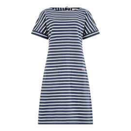 Weird Fish Etta Stripe Jersey Dress blauw ecru (W)