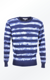 Piece of Blue Round-Neck Pullover - Striped Indigo Blue