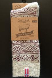 Wool socks (80% wool) with a woven Norwegian flag - Ecru/Red