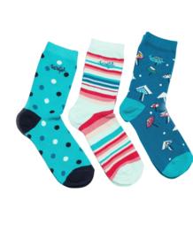 Weird Fish - Patterned Socks - 3 PACK - Parade - Light Teal - SS21