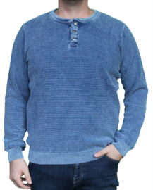 Piece of Blue pullover with 3 buttons - Light Indigo Blue