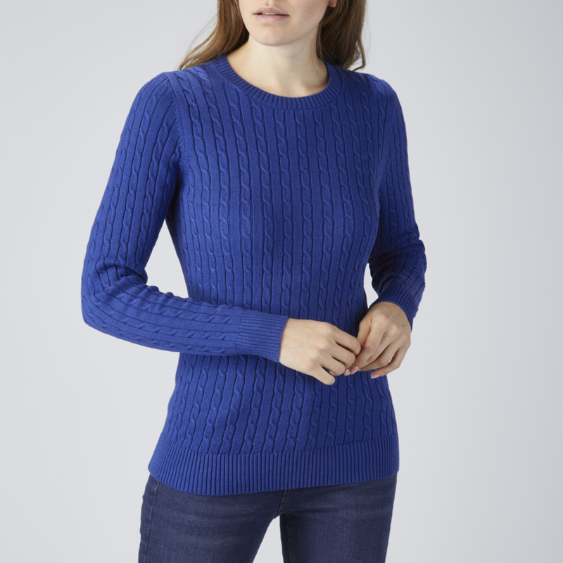 Henri Lloyd Crew Neck Cable Knit Royal Blue (W)
