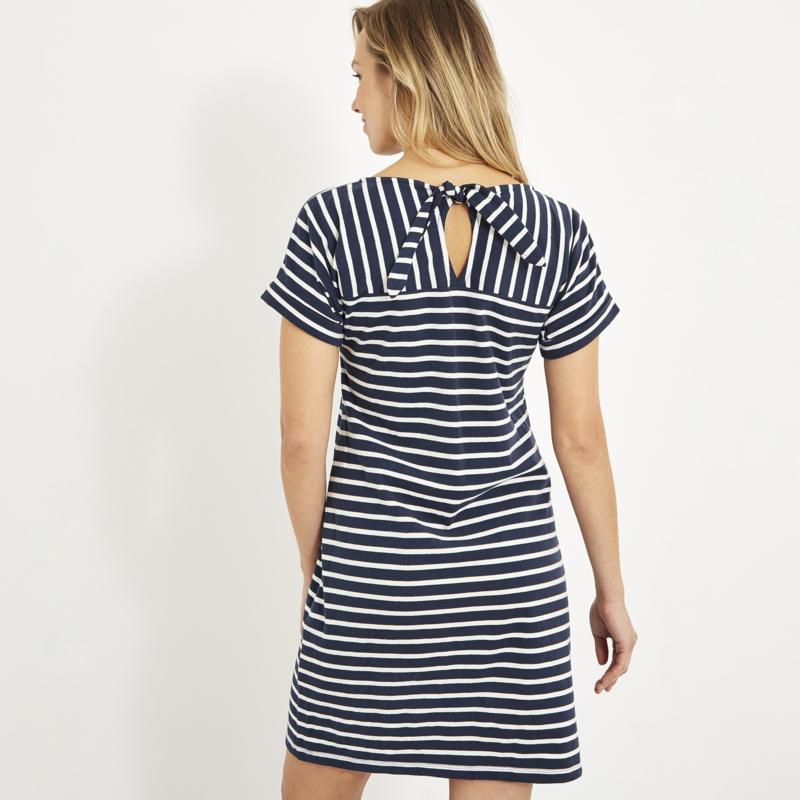 Weird Fish Etta Stripe Jersey Dress blauw ecru (W)