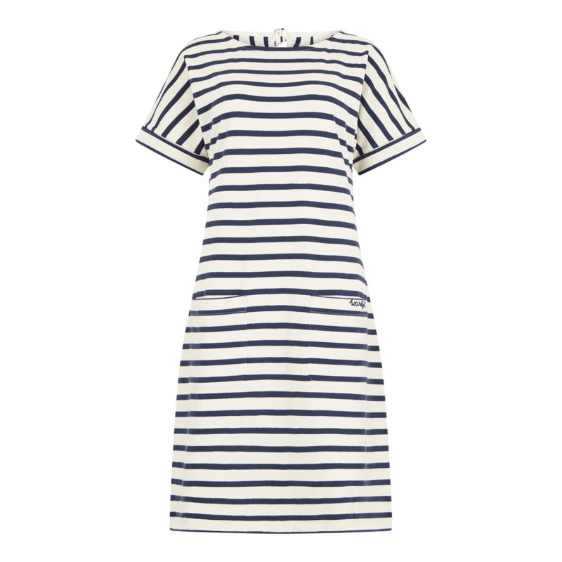 Weird Fish Etta Stripe Jersey Dress ecru blauw (W)