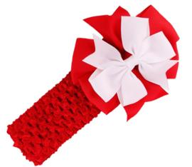 Haarband rood bloem