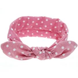 Haarband roze met witte stippen