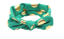 Haarband groen met gouden stippen