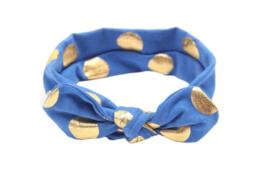 Haarband kobalt blauw met gouden stippen