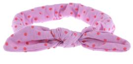 Haarband paars met roze stippen