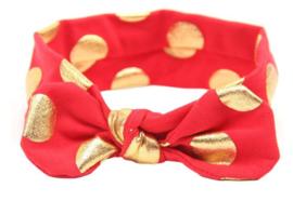 Haarband rood met gouden stippen