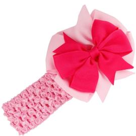 Haarband bloem roze elastiek