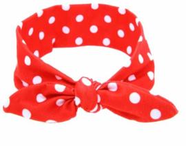 Haarband rood met witte stippen