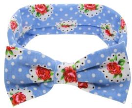 Haarband blauw met witte stippen en strik