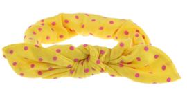 Haarband geel met roze stippen