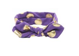 Haarband paars met gouden stippen